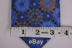 Ermenegildo Zegna NWOT Quindici NeckTie 100% Silk Blue With Multicolor Geometric