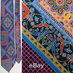 Ermenegildo Zegna Quindici #121 Art Deco Floral Blue Pink Thick Silk Necktie Tie