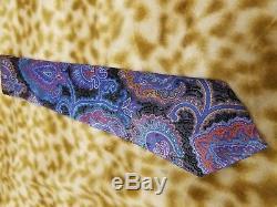 Ermenegildo Zegna Quindici Black Blue Silk Mens Neck Tie $285 Nwt New