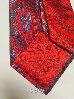 Ermenegildo Zegna Quindici Jacquard Paisley Navy/Red Silk Tie Msrp 385$