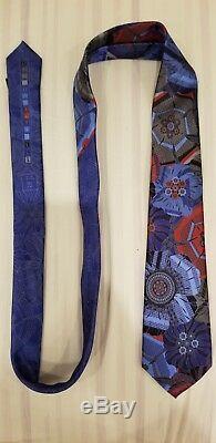 Ermenegildo Zegna Quindici Limited Edition Blue & Multi-color Flower Tie NEW