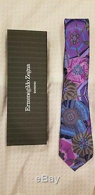Ermenegildo Zegna Quindici Limited Edition Purple & Multi-color Flower Tie NEW