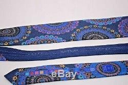Ermenegildo Zegna Quindici NeckTie 100% Silk Blue With Multicolor Medallions