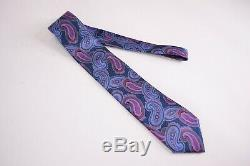 Ermenegildo Zegna Quindici Silk Neck Tie Blue With Multicolor Paisley