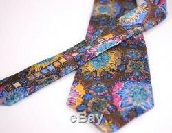 Ermenegildo Zegna Quindici Silk Neck Tie Brown, Pink, Yellow, Blue Multicolor
