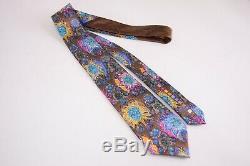 Ermenegildo Zegna Quindici Silk Neck Tie In Brown With Multicolor Hawaiian Design