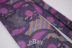 Ermenegildo Zegna Quindici Silk Neck Tie Multicolor Paisley With Rainbow Stripes