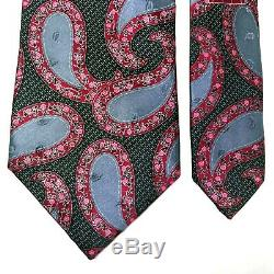 Ermenegildo Zegna Silk Neck Tie Intense Crimson Steel Floral Multicolor Paisley