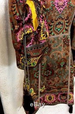Etro Dress Short Multicolor Print Silk Full Sleeve Tassel Ties Nwt Size 38