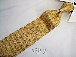 Excellent Hermes Paris Yellow Multi Color Woven Silk Tie 57 x 3.5