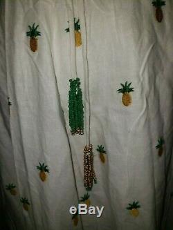FARM RIO Dress Sz M Maxi Off White Embroidered Pineapple Wrap Tassels NWT RARE