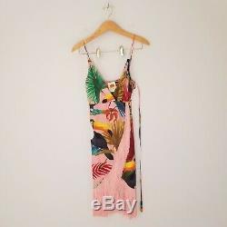 Farm Rio Womens Sz XS Tropical Tucano Fringe Wrap Dress Novelty Print Parrot