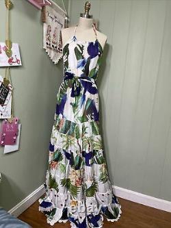 Farm Rio Wrap Mixed Palm Mitra Halter Tropical Tiered Maxi Dress L $350