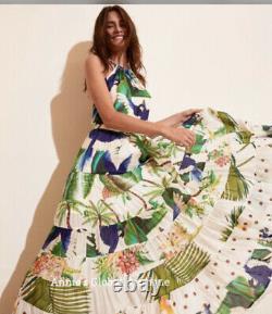Farm Rio Wrap Mixed Palm Mitra Halter Tropical Tiered Maxi Dress M $350