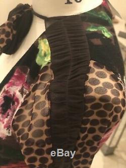 Fizzi Jean Paul Gaultier vintage mesh dress long sleeve animal print size XS
