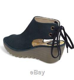 Fly London Women's Ypul Wedge Tie Back Peep Toe Sandals Reef Sizes 36-41