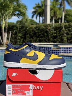 Free Overnight Shipping Nike Dunk Low Michigan Varsity PS Size 3Y CW1588-700