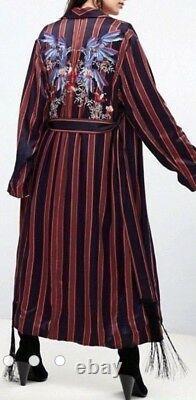 Free People Atrium Striped Duster Hummingbird Lounge Jacket Robe Embroidered