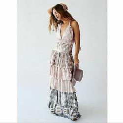 Free People LoveShackFancy Clarissa Dress $800 Metallic Floral Medium NWT Tiered