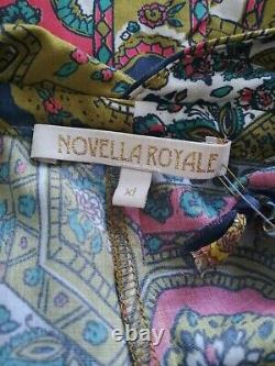 Free People Novella Royale The Lady Jumpsuit Women XL Retro Bell Bottom Halter