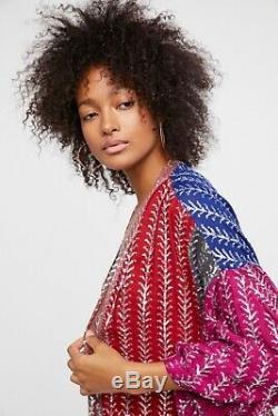 Free People Sequin Embellished Kimono SZ Medium M Cardigan Festival Gypsy Boho