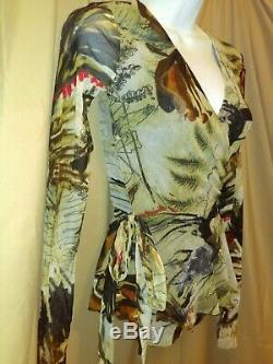 Fuzzi Jean Paul Gaultier Top S Floral Stretch Mesh True Wrap Shirt Blouse Small