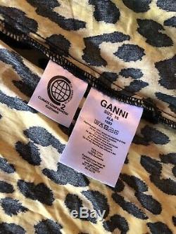 GANNI Bijou Leopard Print Wrap Midi Dres EU 36
