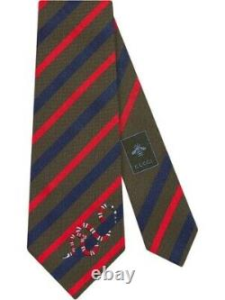 GUCCI Kingsnake 100% Silk Tie Striped In Red Green Blue Made In Italy