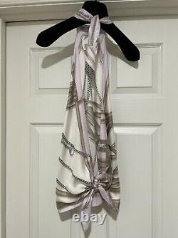 GUCCI Stunning Silk Printed Halter Tie Top Fits Size XS/S