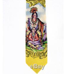 Gianni Versace jacquard-weave silk tie necktie native American Indian motifs