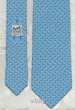 Grand Slam Brand New Tag Hermes Silk Tie Lt Blue HOME RUN Classic Motif Mint