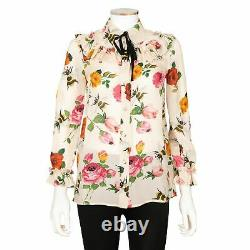Gucci Floral and Bee Print Silk Blouse with Grosgrain Tie