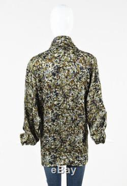Gucci Green Multicolor Silk Printed Long Sleeve Tie Neck Blouse SZ 42