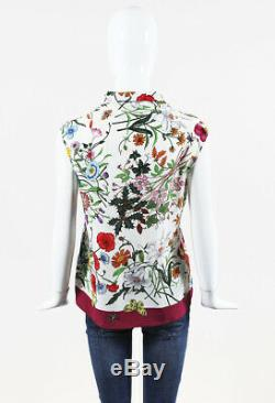Gucci Multicolor Silk Floral Print Sleeveless Tie Neck Top SZ 42