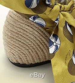 Gucci Nib Carolina Beach Ball Satin Tie Espadrille Thong Flats size 39/8.5