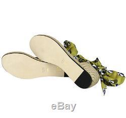 Gucci Women's Multicolor Carolina Beach Ball Satin Tie Flat Sandal 338691 7362