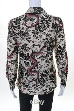 Gucci Womens Button Down Blouse Floral Snake Print Silk Bow Tie Size Italian 40