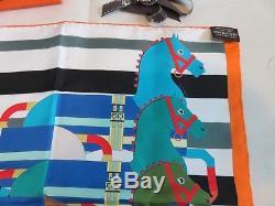 HERMES Rocabar Pocket Square 45 Silk Twill 6 Horses 16 x 16 Neck Tie Scarf BOX