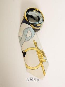 HERMES VINTAGE Mens Ivory Blue Gold SILK Print Pattern Classic Necktie Suit-Tie