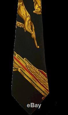 Hermes 1998 Black Gold Parures du Vent Print Scarf Twill Silk Tie