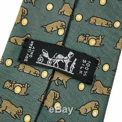 Hermes Teal Multi Color Puppy Ball Print Silk Made in Italy 3.25 Tie