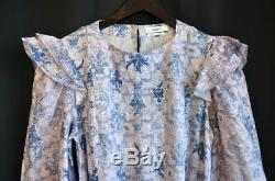 ISABEL MARANT Etoile Pink Blue TELICIA Ruffle Linen Wrap A-Line Dress FR36 US4 S