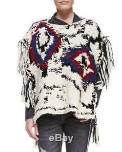 Isabel Marant Etoile Shanon Intarsia Fringe Braided Ties Wool Poncho Sweater 38