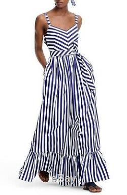 J CREW White Blue Mason Striped Ruffle Sweetheart Waist Tie Cotton Maxi Dress 16