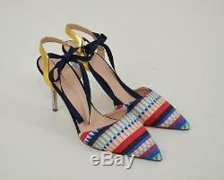 J. Crew $298 Elsie Geometric Fabric Ankle-tie Pumps 9.5 Multi Glitter Heels F1305