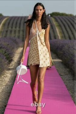 JACQUEMUS La Robe Boca Yellow Floral Daisy Print Halter Tunic Mini Dress 34/2