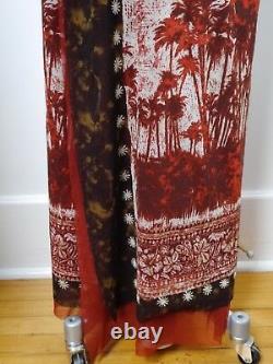 JEAN PAUL GAULTIER Maille Classique print nylon mesh long wrap skirt size M