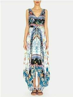 JOHNNY WAS Dress Sz L Cassia Floral Handkerchief V-Neck Sleeveless Tie-Waist NWT
