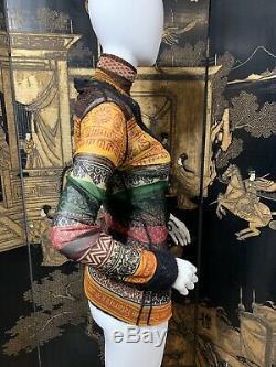 Jean Paul Gaultier Classique Fuzzi Tribal Print Mesh Knit Cardigan Top 2 Piece M