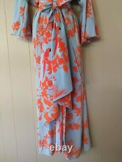Johanna Ortiz Blue Orange Parrot Tropical Print Silk Kimono Dress Tie Waist Sz 6